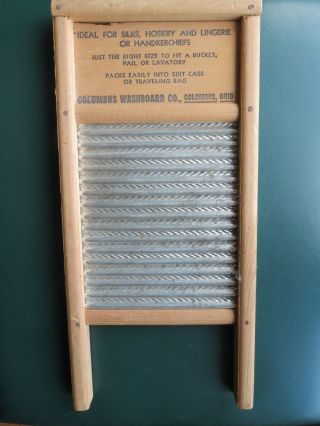 Vintage Dubl Handi Washboard Wood Early American Decor Columbus Wash Board Co. photo
