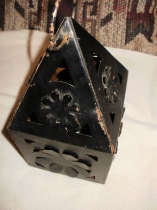 Olde Black Vintage Tin Metal Candle Or Bulb Lantern Eleven Inches Tall 5 1/2 Wid photo