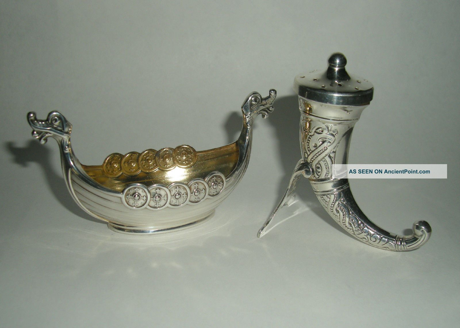 Vintage Theodor Olsens Eftf Viking Horn & Ship Sterling Salt Pepper Norway Scandinavia photo