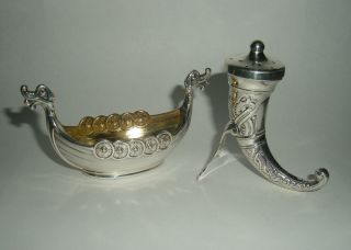 Vintage Theodor Olsens Eftf Viking Horn & Ship Sterling Salt Pepper Norway photo