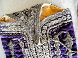 Antique Ottoman Silk Velvet Bourse Purse 18th - Century Silver Metallic Embroidery photo