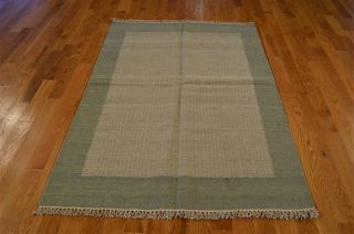 100% Wool 4 ' X 6 ' Hand Woven Silver Blue Durie Kilim Flat Weave Rug Rb6989 photo