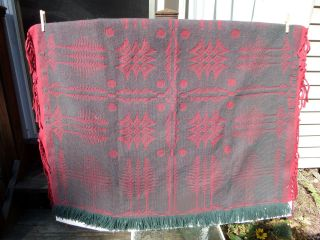 Wool Coverlet By William Leinbach - Date 1988 & Name Woven In Item - Red & Green photo
