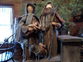 Primitive Christmas Mary,  Joseph,  Baby Jesus,  Nativity With Donkey photo