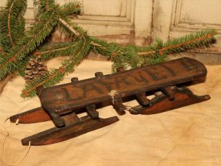 Antique Miniature Toy Folk Art Childs Wood Snow Sled Old Paint photo