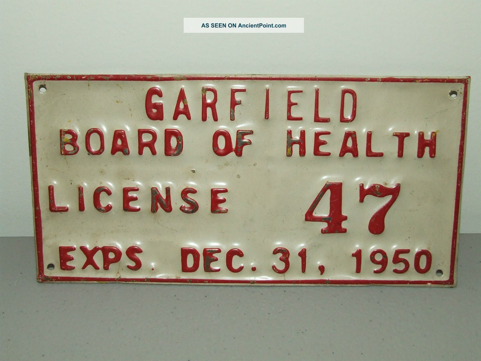 Antique Metal Embossed 1950 Garfield Board Of Health Medical State Trade Sign Other photo