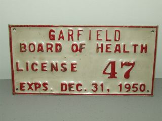 Antique Metal Embossed 1950 Garfield Board Of Health Medical State Trade Sign photo
