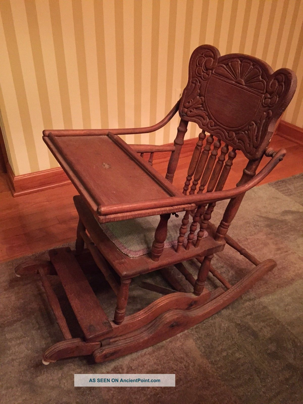 - Antique Oak Wood Baby High Chair Folds Down To Childs Rocker Vintage