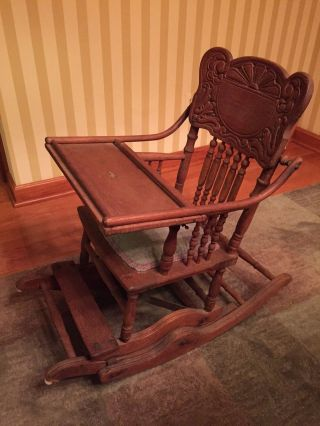Antique Oak Wood Baby High Chair Folds Down To Childs Rocker Vintage photo