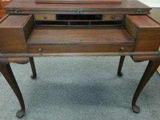 Antique Queen Anne Style Flip Top Cabriole Leg Writing Desk photo