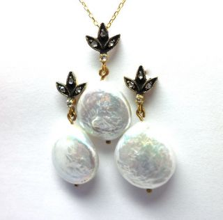 Rose Cut Diamond & Pearl Gold Plated Vintage Look Earrings,  Pendant Jewelry Set photo