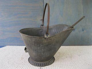 Antique Coal Scuttle Ash Hod Bucket Primitive 17 Metal,  Shovel,  Bail Handle photo