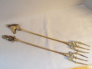 Vintage Of 2 Brass English Toasting Forks Horse Head & Owl 17 1/2