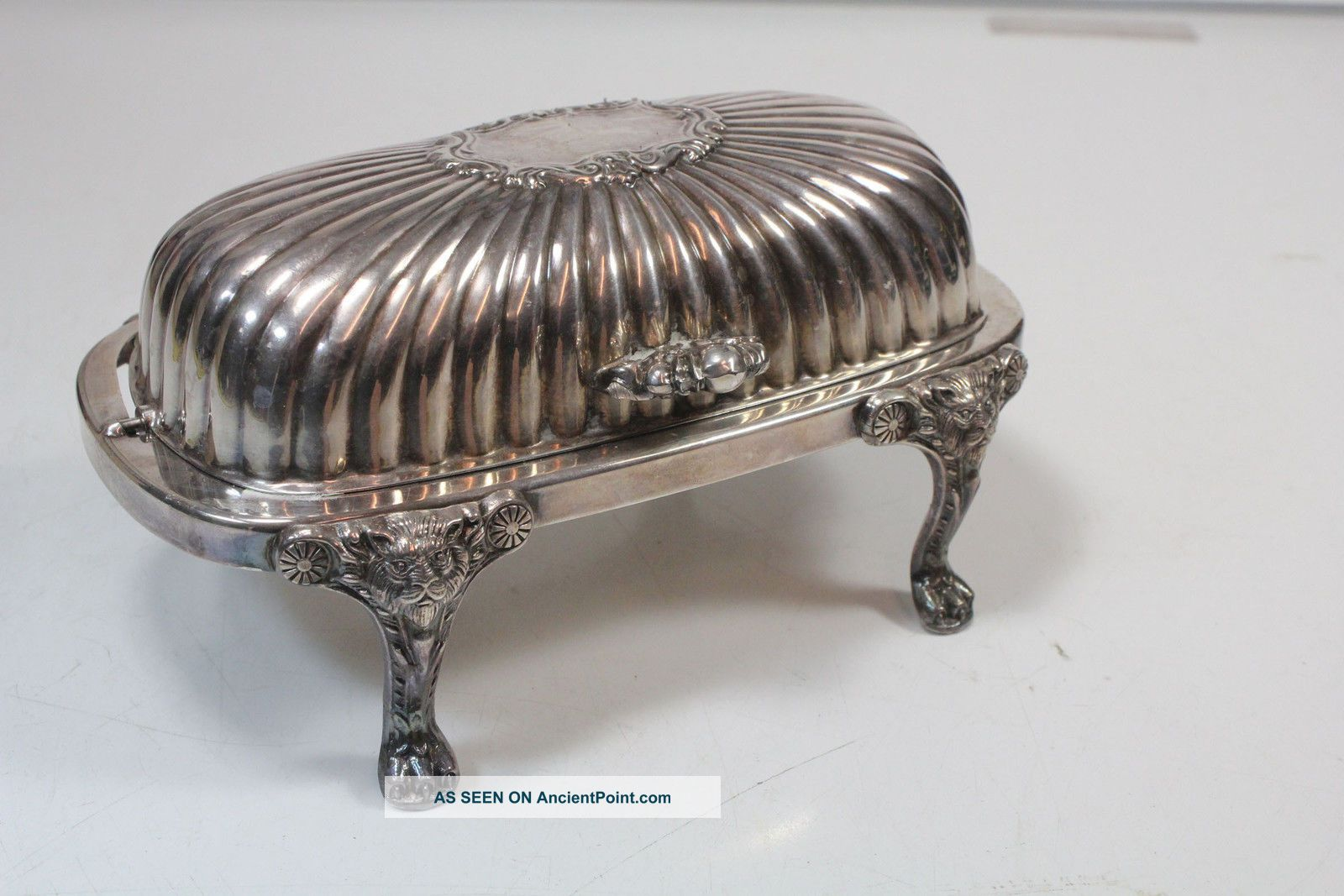 Vintage Roll Top Silverplate Butter Dish Fb Rogers W/ Glass Insert Butter Dishes photo