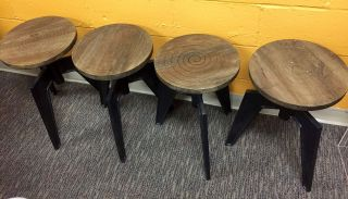 4 Retro Antique Style Cast Iron & Stools With Spinning Seat photo