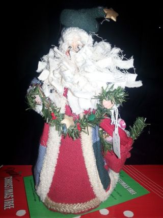 Vintage Fabric Santa W/ Rag Beard And Big Pouch Filled W/ Gifts Tree Topper - New photo