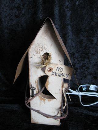 Primitive Birdhouse Repurposed,  Salvaged Materials,  Lights Up photo