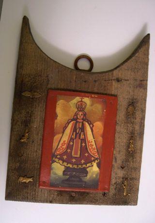 Rare Antique Mexico Religious Icon Tin Wood Milagros Retablo Virgen Del Rosario photo