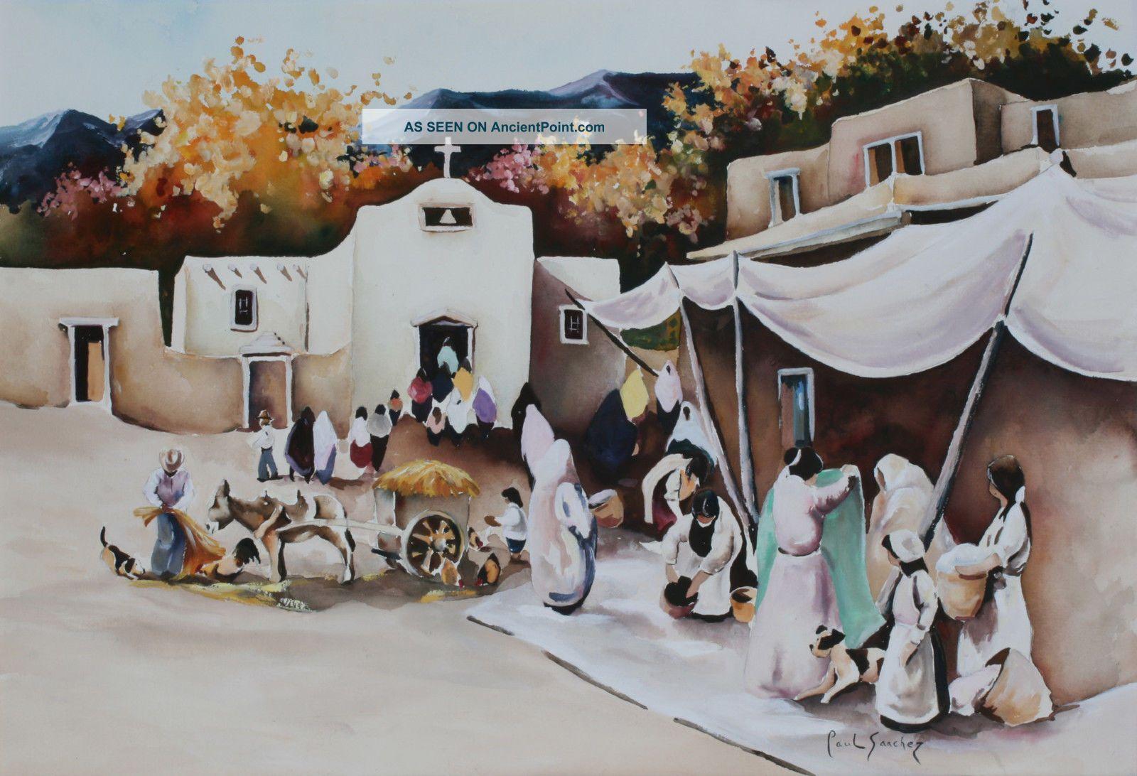 Large Painting Of Tesuque Pueblo By Paul Sanchez / Southwest Native American Native American photo