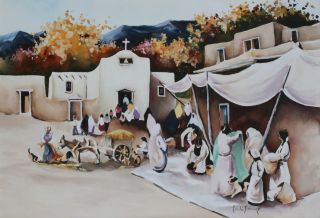 Large Painting Of Tesuque Pueblo By Paul Sanchez / Southwest Native American photo
