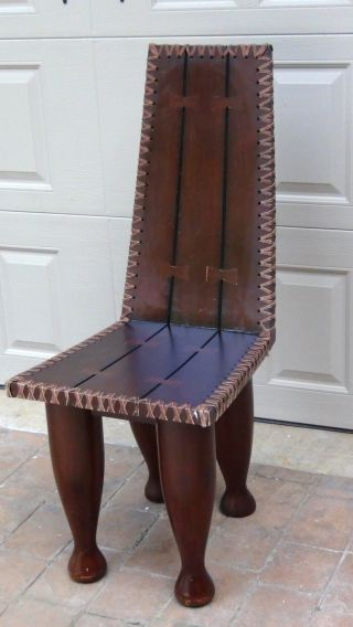 Early 20c African Chief ' S Or Elderly ' S Prestige Heavy Wood Chair Cote D ' Avoire photo
