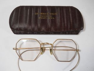 Vintage1930 ' S Gf Wire Rim Spectacles Eye Glasses Squire By American Optical Co photo