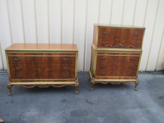 51323 Pair French Country Antique High Chest + Dresser photo