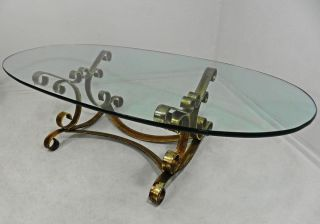 Vintage Regency Rustic Gilt Decorated Iron Oval Glass Top Coffee Cocktail Table photo