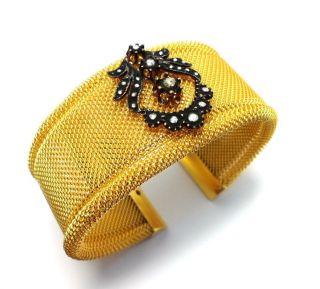 Rose Cut Diamond Authentic Vintage Look Handmade Cuff Bracelet Turkish Jewelry photo