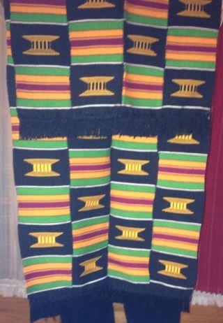 Kente Cloth,  Orange/blacks.  Fringed,  Features Stools Of Knowledge, photo