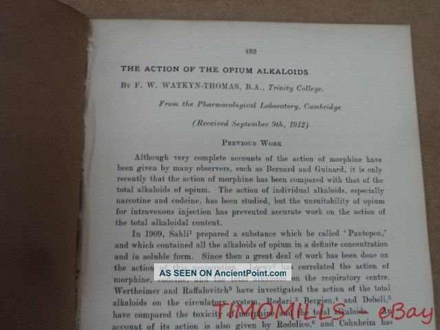 1912 Action Of Opium Alkaloids By F.  W.  Watkyn - Thomas Offprint Cambridge Antique Other photo
