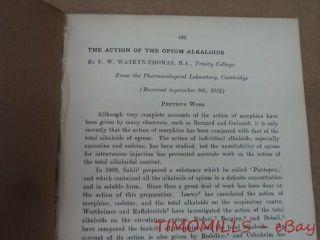 1912 Action Of Opium Alkaloids By F.  W.  Watkyn - Thomas Offprint Cambridge Antique photo