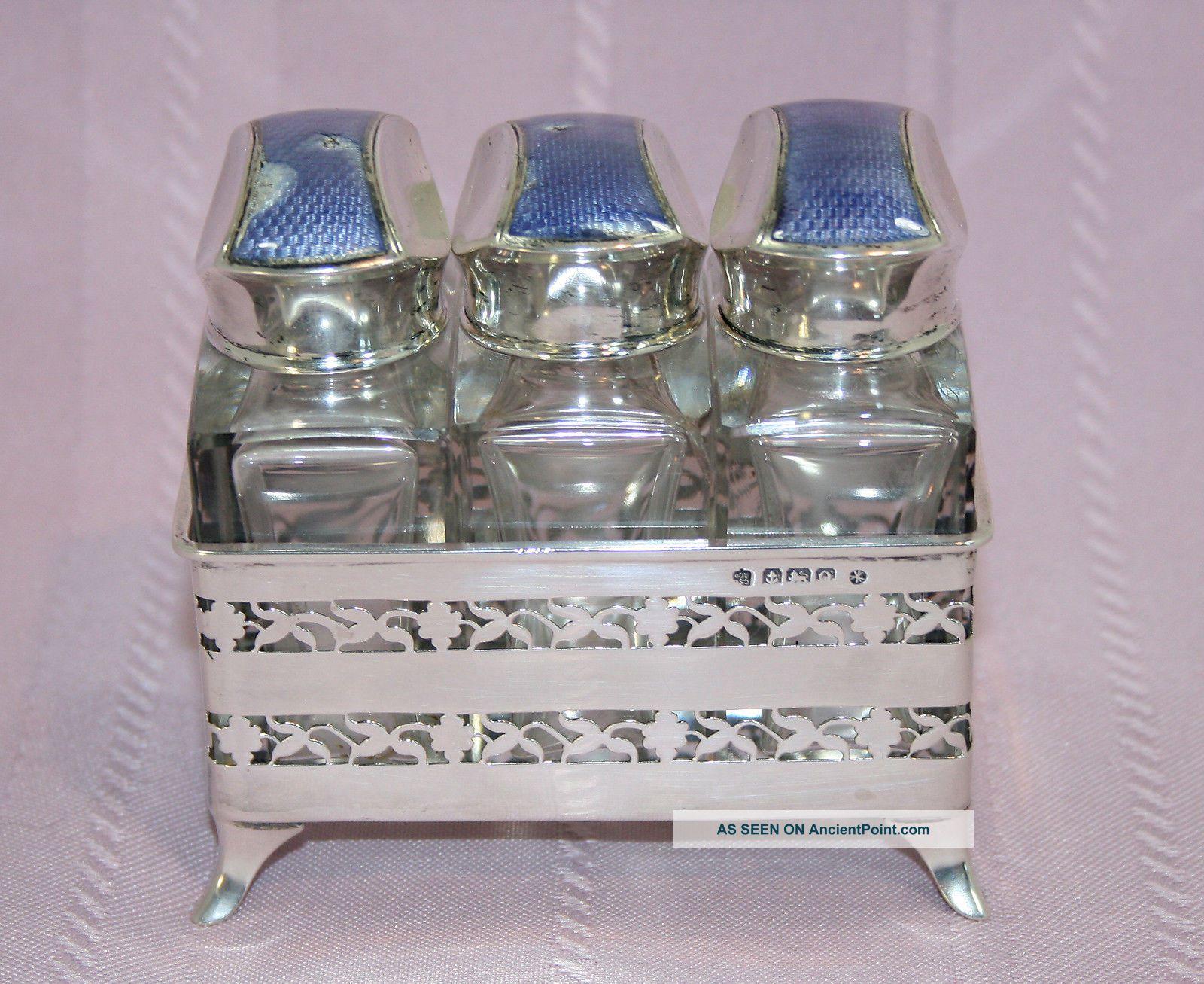 Stunning Art Nouveau Charles S Green Enamel & Sterling Perfume Bottle Set Bottles, Decanters & Flasks photo