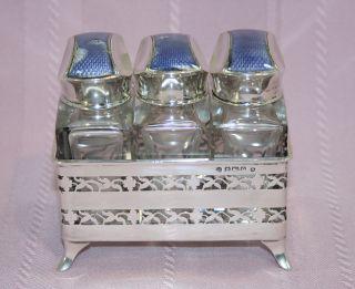 Stunning Art Nouveau Charles S Green Enamel & Sterling Perfume Bottle Set photo
