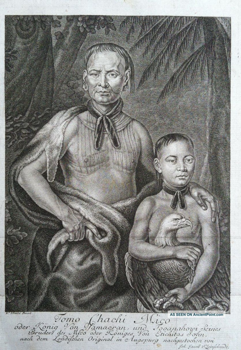 Tomo Chachi Mico By Joh.  Jacob Kleinschmidt After William Verelst,  1735 (rare) Native American photo
