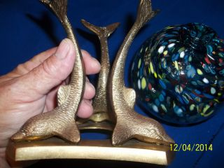 Hand Blown Glass Float Fishing Ball With Solid Brass Dolphin Stand Tall