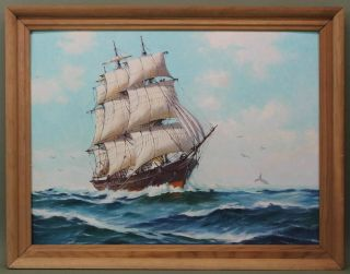 Vintage Humbero Da Silva Fernandes Whaling Ship Seascape Oil Painting photo