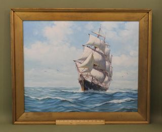 Vintage Clipper Ship Humbero Da Silva Fernandes Seascape Oil Painting,  Nr photo