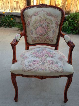 C.  1900 French Louis Xv Style Wood & Tapestry Chair photo