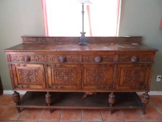 French Renaissance Gothic Buffet And Server photo