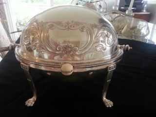 Antique Silver Plate Dome Roll Top Breakfast Warmer Serving Dish Nr photo