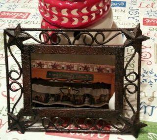 Ln ☆ Primitive Rustic Country Star Mirror Decor Euc photo