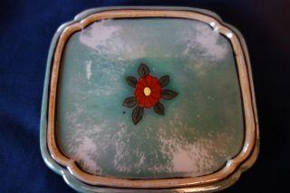 Vintage Square Tea Tile/trivet - Green Lustreware W/red Flower - Japan - Elegant - Sale photo
