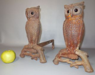 Antique C1910 Rostand 407e Owl Andirons W/amber Glass Eyes photo
