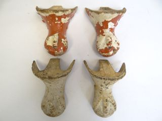Antique Metal Cast Iron Claw Foot Painted White Bathtub Feet Parts Hardware photo