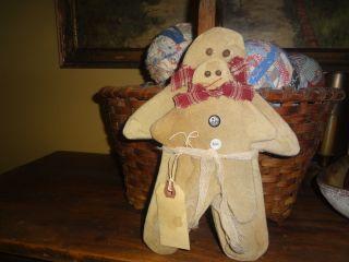 Handmade Primitive Gingerbread Boys - - Old Wool Fabric Set/2 - - Large 10