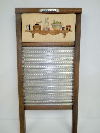 Needle Point Dubl Handi Vintage Washboard By Columbus Country Decor Collectible photo
