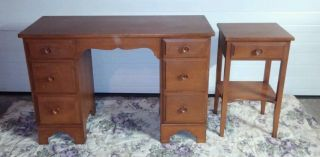 Vintage Antique Knee Hole Old Homestead Birch Wood Desk Whitney W/ Side Table photo