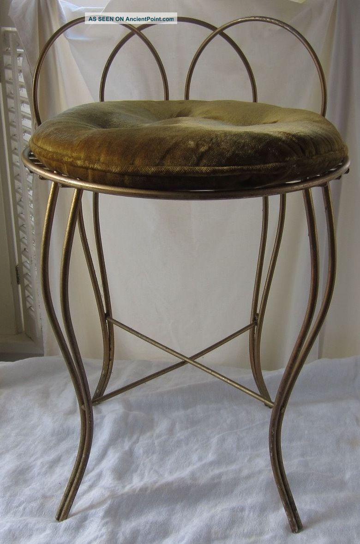 Hollywood Regency Vanity Chair Metal Gold Brass Seat Vintage Cushion