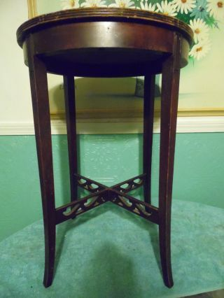 Antique Vintage Wood Round Side Table Carved Open Scrollwork Plant Stand Cross photo